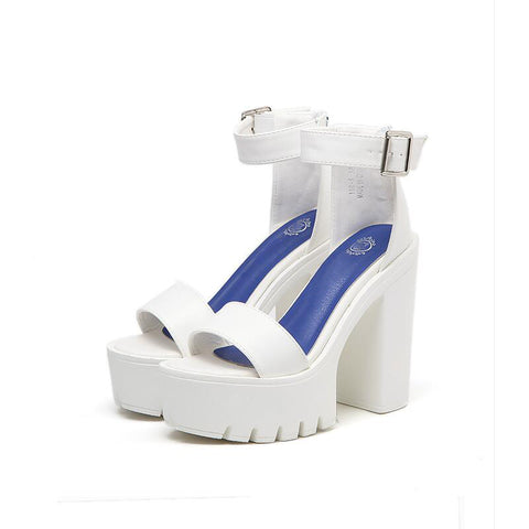 High Heel Chunky Platform Heel Sandals (Black/White)