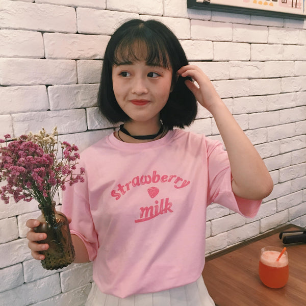 Harajuku Baby Pink Strawberry Milk T-shirt