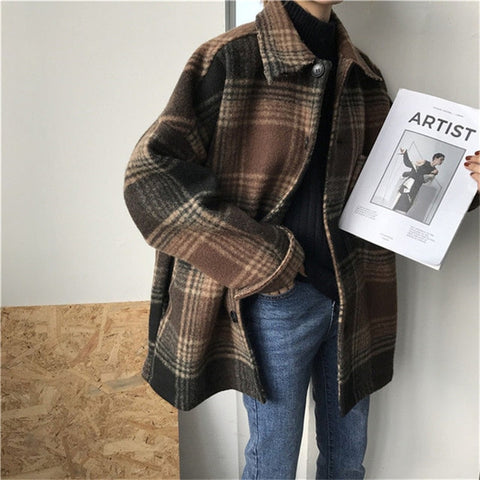 Harajuku Short Wool Plaid Coat (Brown/Grey)
