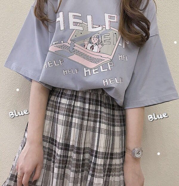 Harajuku Anime Girl Laptop Pastel Tshirt (Pink/Blue/Black)
