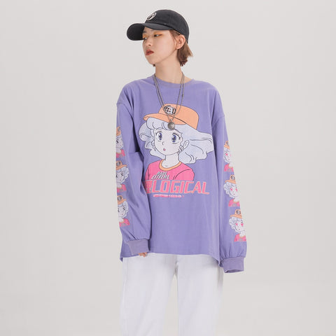 Harajuku Anime Girl Creamy Mami Oversized Long Sleeve Tshirt (Purple/White/Black)
