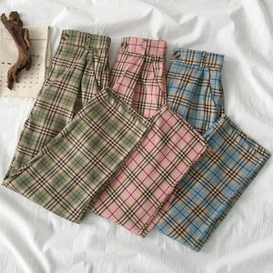Korean Style High Waisted Plaid Pants (Green/Pink/Blue)