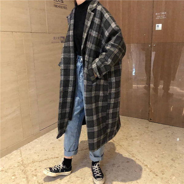 Harajuku Oversized Woolen Plaid Coat (Brown/Gray)