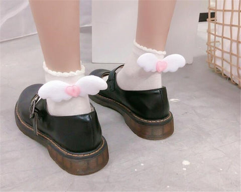 Harajuku Kawaii Ankle Wings Socks (Black/Ivory)