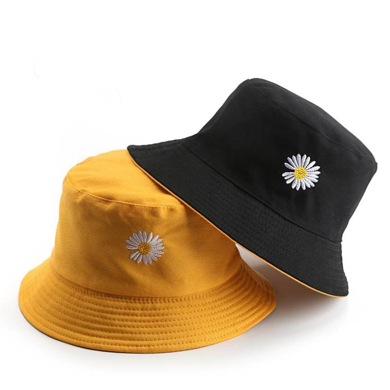 Harajuku Embroidered Daisy Reversible Bucket Hat (3 Colors)