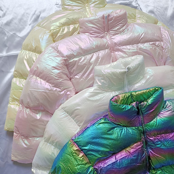 Harajuku Kawaii Fashion Style Iridescent Holographic Down Jacket (4 Colors)