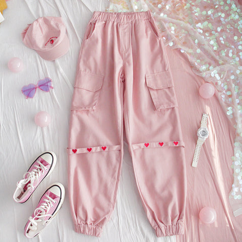Harajuku Heart Harness Cargo Pants (Pink/Black) BFCM Special Price