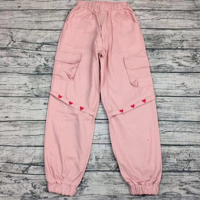 Harajuku Heart Harness Cargo Pants (Pink/Black)
