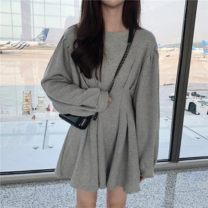 Korean Style Grey Waist Fold Dress