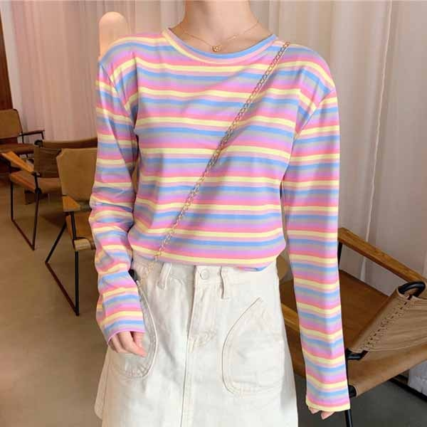 Harajuku Pastel Rainbow Stripe Long Sleeve T-shirt