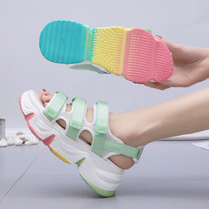Harajuku Rainbow Sole Chunky Platform Sandals (Mint/White)