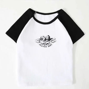 Harajuku Korean Angel Colorblock Sleeve Crop Top Tee (4 Colors)