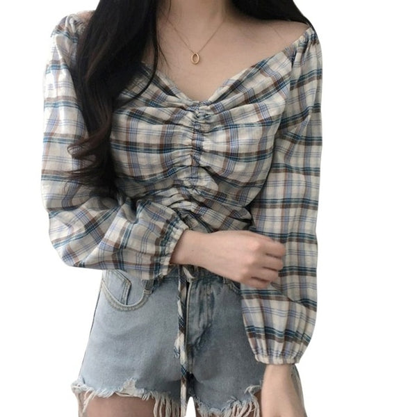 Korean Style Off Shoulder Cropped Plaid Shirt Top (Blue/Black)