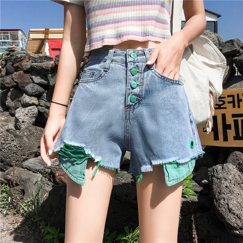 Harajuku Pop Of Color High Waisted Denim Shorts (Green/orange) (S-5XL)