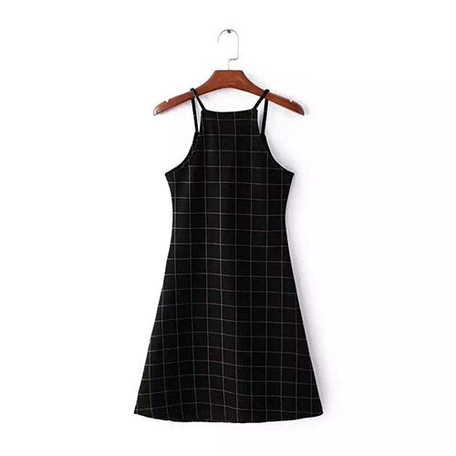 Korean Style Checkered Black Cami Dress