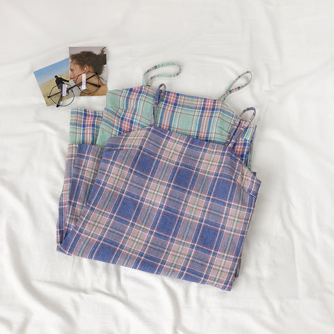 Korean Style Plaid Camisole Dress (Purple/Green)