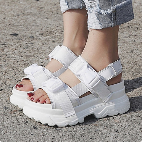 Harajuku Korean Chunky Platform Sandals (Black/White)