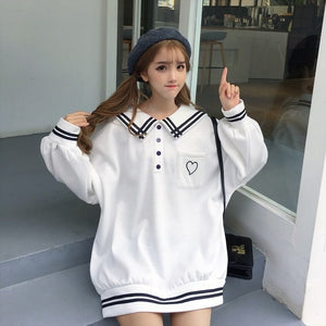 Plus Size Harajuku Japanese Kawaii Fashion Long Sleeve Heart Polo (3 Colors)