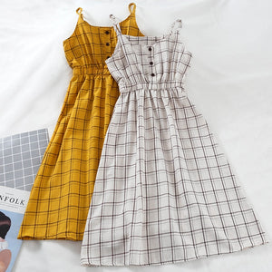 Korean Style Checkered A-line Midi Dress (13 Colors)