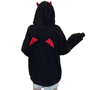 Harajuku Yami Kawaii Fashion Devil Horns Wings Black Hoodie
