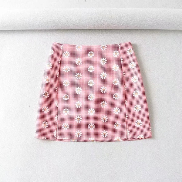 Harajuku Korean Style Daisy Gingham Mini Skirt (5 Colors)