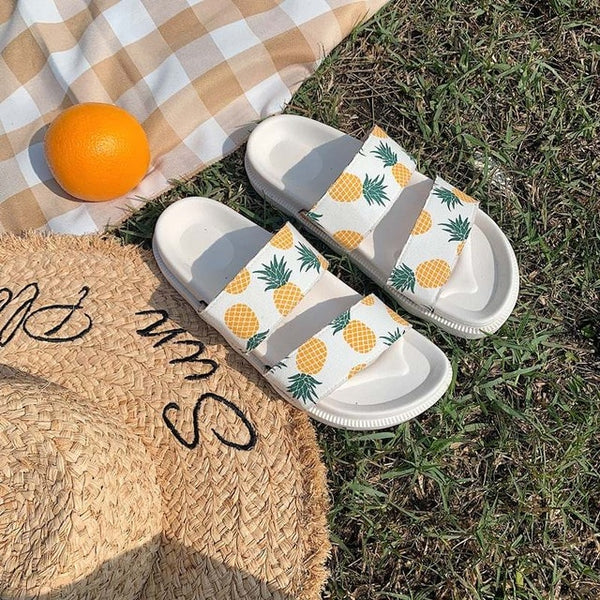 Harajuku Pineapple Slides (White/Black)