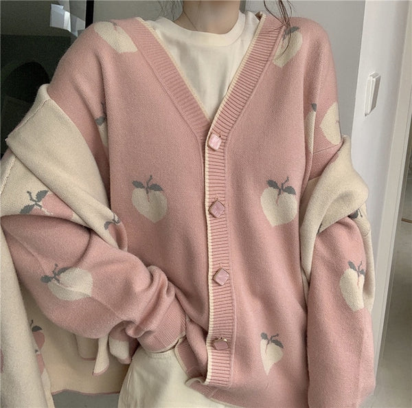Harajuku Fall Winter Peach Cardigan (Pink/Beige) BFCM Special Price