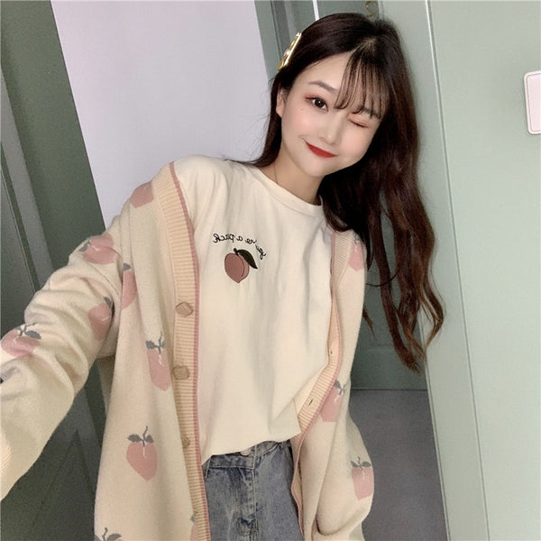 Harajuku Fall Winter Peach Cardigan (Pink/Beige)