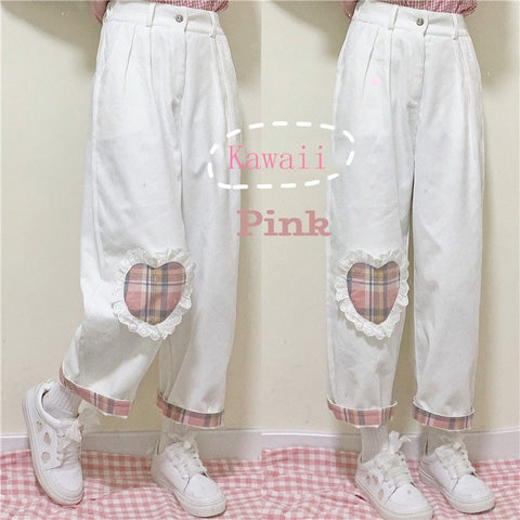 Harajuku Kawaii Fashion Style Pink Gingham Heart Patch Jeans