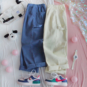 Harajuku Loose Fit Summer Pants (Blue/Beige)