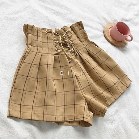 Harajuku Gyaru Soft Sister Corset Belt Plaid Shorts (4 Colors)