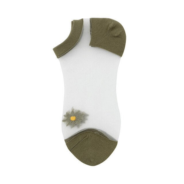 Korean Style Daisy Flower Transparent Socks (5 Colors)