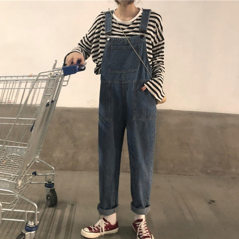Harajuku Essential Denim Overalls (Blue/Black)