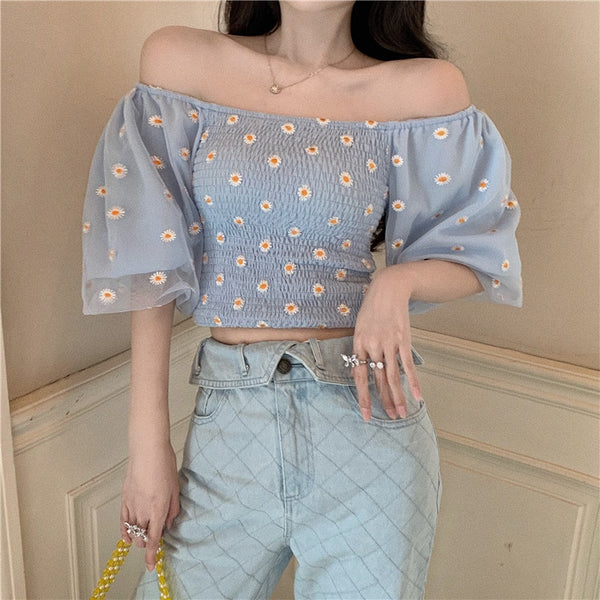 Korean Style Off Shoulder Bell Sleeve Daisy Tube Crop Top (5 Colors)