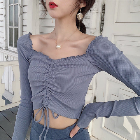 KOREAN STYLE RUCHED KNIT CROP TOP (3 COLORS)