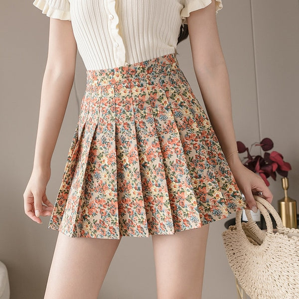 Harajuku Floral Pleated Tennis Skirt (6 Colors)