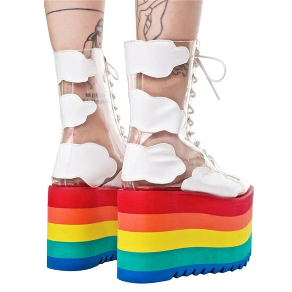 Harajuku Transparent Cloud Rainbow Platform Boots