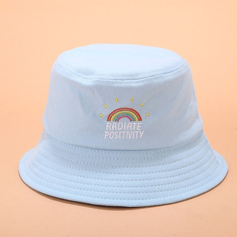 Harajuku Radiate Positivity Rainbow Bucket Hat (5 Colors)