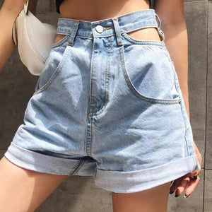 Harajuku Pocket Cutout Denim Shorts