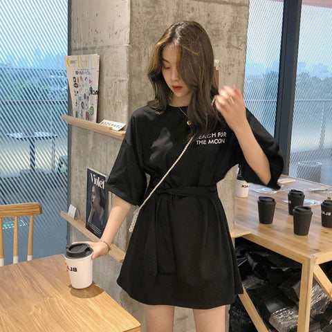 Korean Style Reach for the Moon T-shirt Dress