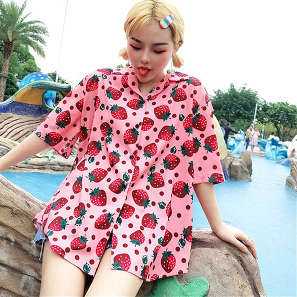 Harajuku Strawberry Button Up Shirt