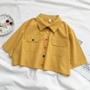 Harajuku Color Buttons Oversized Cropped Shirt (5 Colors) BFCM Special Price