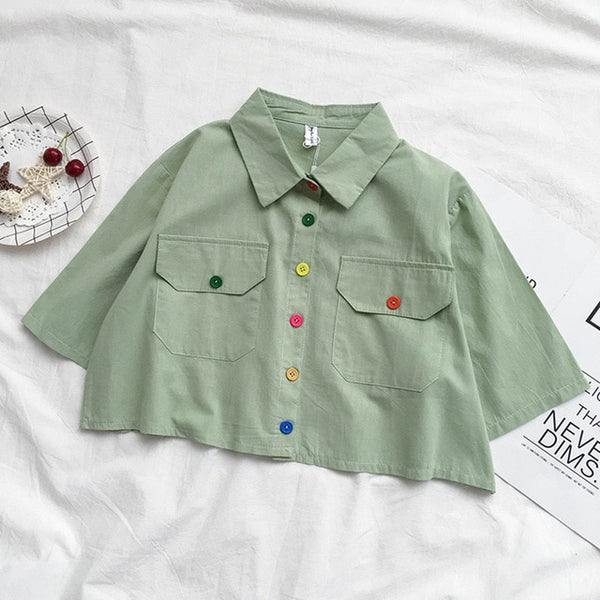Harajuku Color Buttons Oversized Cropped Shirt (5 Colors)