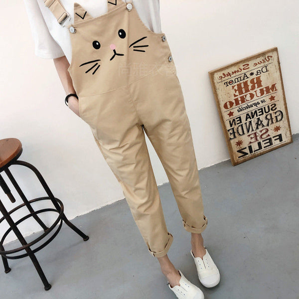 Harajuku Kawaii Fashion Pastel Overalls with Cat Face Print (5 Colors)