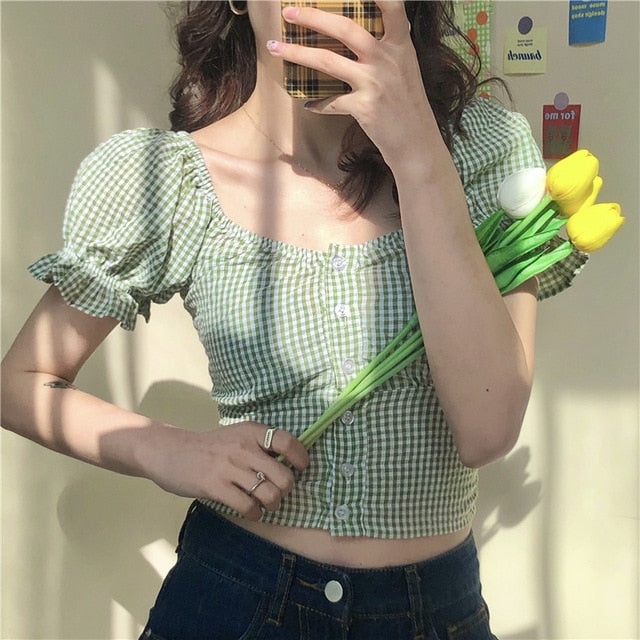 Korean Style Mori Girl Gingham Cropped Blouse (2 Colors)