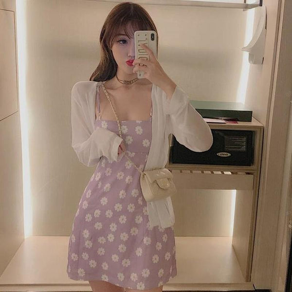 Harajuku Korean Style Floral Sundress (Pink)