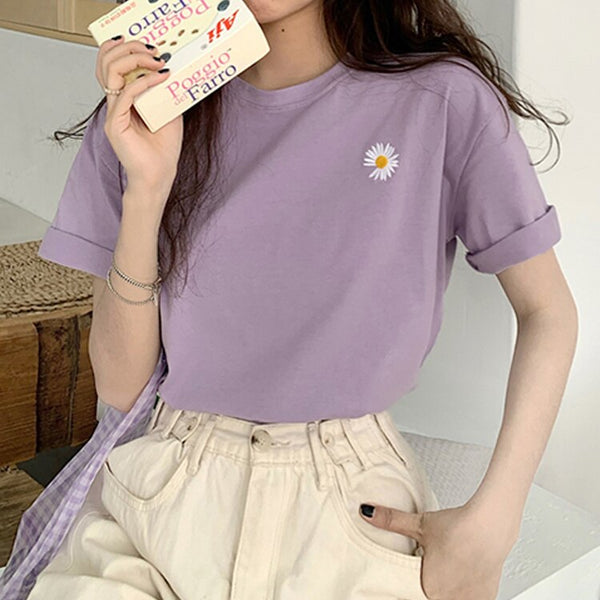 Korean Pastel Daisy T-shirt (4 Colors)