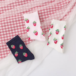 Harajuku Kawaii Fashion Strawberry Print Ankle Socks (3 Colors)