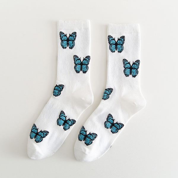Harajuku High Quality Embroidered Butterfly Socks