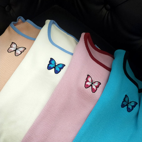 Harajuku Ribbed Butterfly Crop Top (4 Colors)